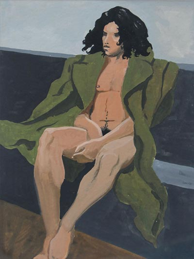 Painting of a boy nude under an army coat