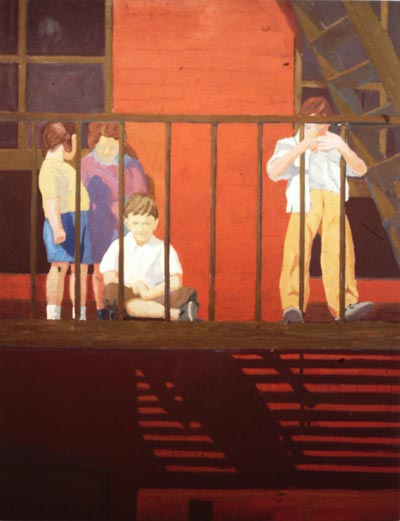 Oil painting of a group of figures on a fire escape