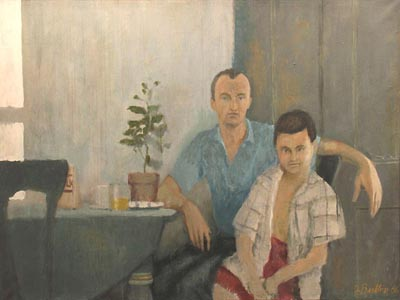 Oil painting of a seated man and boy