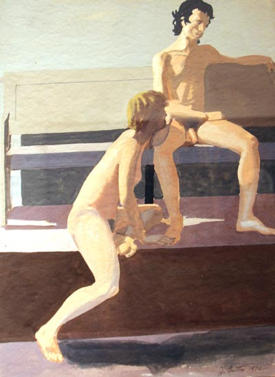 Figure study of two nudes done in gouache