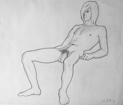 Pencil drawing of a male nude