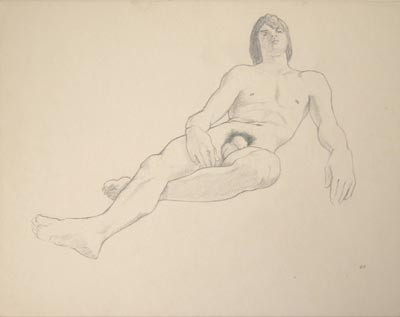 Beautifull pencil drawing of a reclining male nude by artist John Button