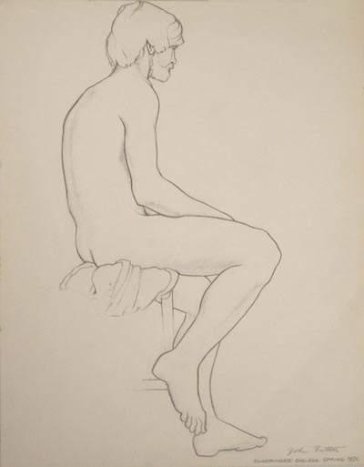Life drawing done by artist John Button in 1970 while at Swathmore