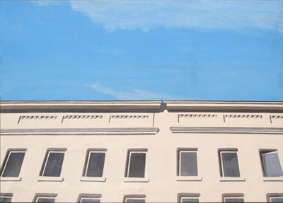 In the painting Sunday Morning 1980 the upper facade of a building is rendered against a blue sky