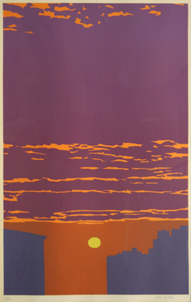 city skyline silhouetted against a bronze and purple sky in this John Button silkscreen