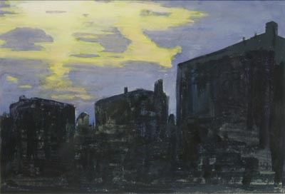 Watercolor of buildings silhouetted against an evening sky