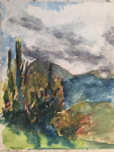 watercolor of a Oaxaca landscape
